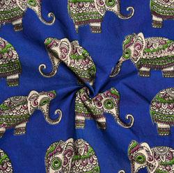 Blue Green and White Animal Cotton Kalamkari Fabric-28059