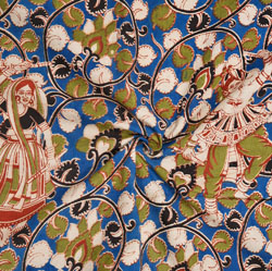 Blue Green and White Forest Cotton Kalamkari Fabric-28004