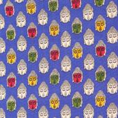 Blue-Green and Yellow Buddha Kalamkari Fabric-10002