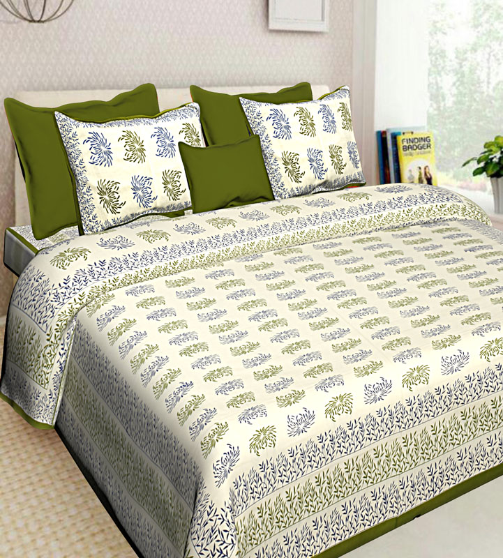 Blue Mahendi Green Cotton Jaipuri Bedsheet-647