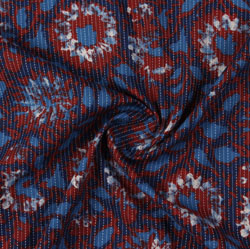 Blue Maroon Block Print Cotton Fabric-16051
