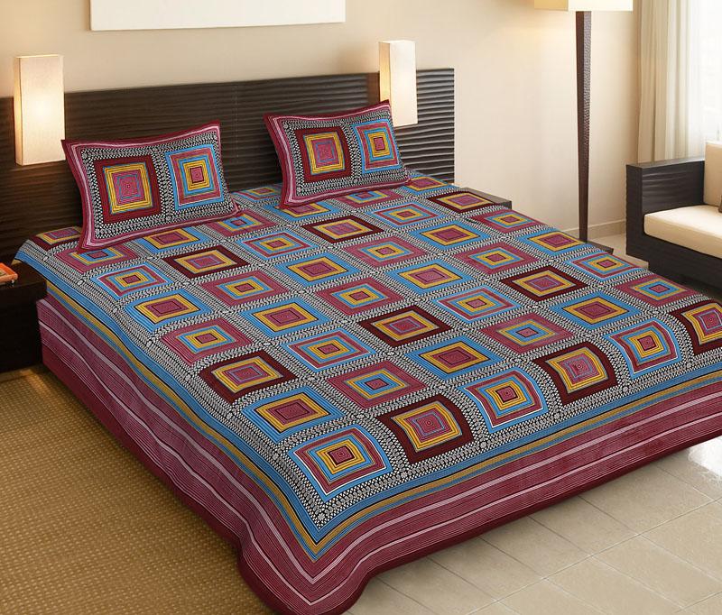 Blue Maroon Cotton Jaipuri Bedsheet-506