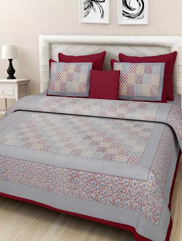 Blue Maroon Cotton Jaipuri Bedsheet-679