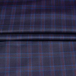 Blue Maroon Checks Wool Fabric-90174