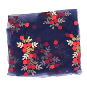 Blue Net Fabric With Golden and Red Flower Embroidery-60817