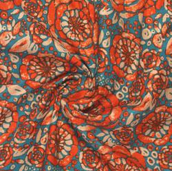Blue Orange Block Print Cotton Fabric-16077