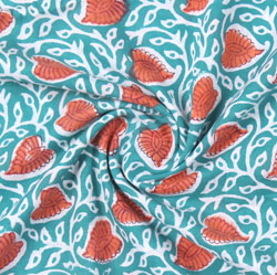 Blue Orange Block Print Cotton Fabric-16172