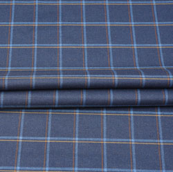 Blue Orange and White Check Wool Fabric-90124