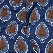 Blue-Orange and White Leaf Pattern Cotton Block Print Fabric-14483