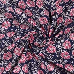 Blue Pink Block Print Cotton Fabric-16029
