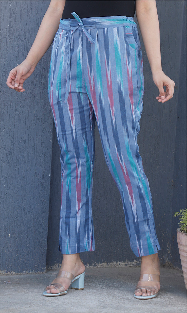 Blue Pink Cotton Ikat Ankle Women Pant-34468