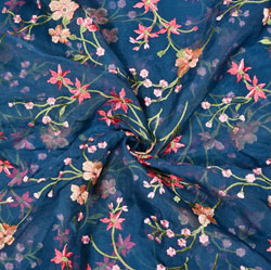 Blue Pink Flower Organza Embroidery Fabric-22242