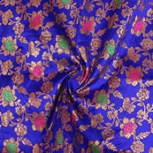 Blue Pink Green and Golden Floral Brocade Silk Fabric-9285