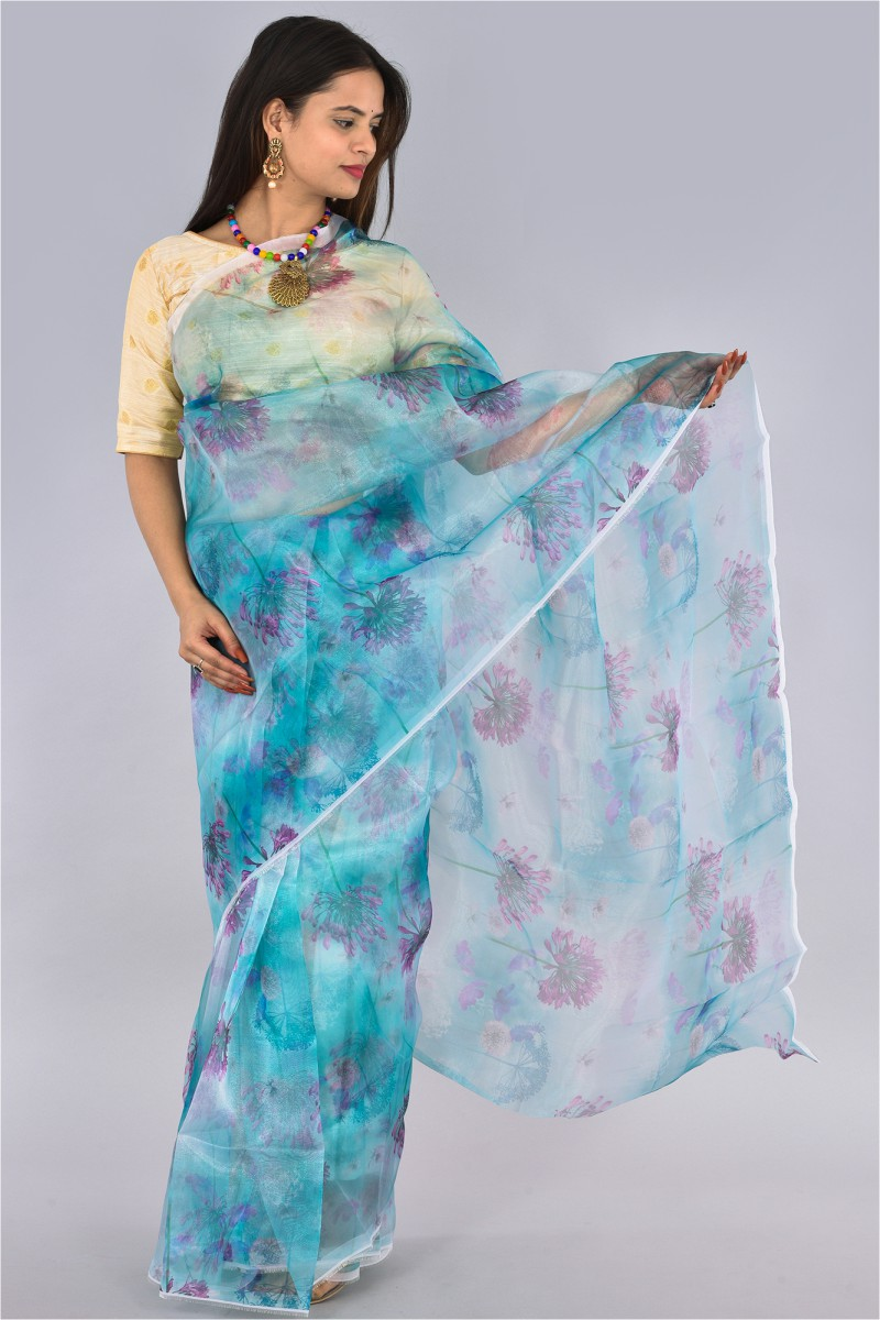 Blue Pink Organza Digital Printed Saree-36201
