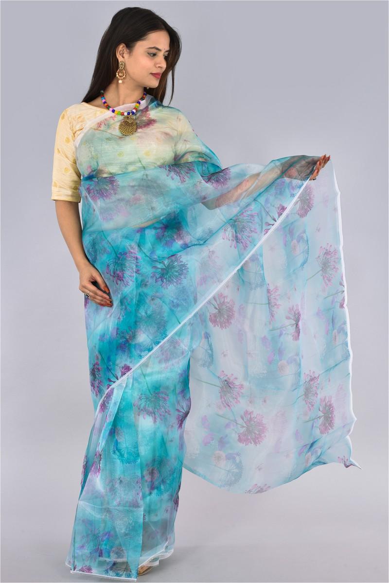 Blue Pink Organza Digital Printed Saree-36201