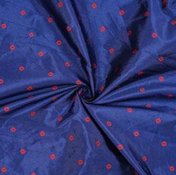 Blue Pink Polka Zari Taffeta Silk Fabric-12659