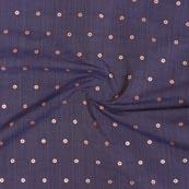 Blue Pink and Golden Zari Dot Brocade Silk Fabric-9258