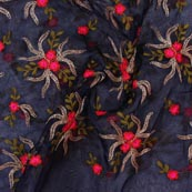 Blue Pink and Green Embroidery Organza Silk Fabric-51620