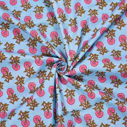Blue Pink and Green Floral Cotton Fabric-28113