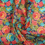 Blue-Pink and Green Flower Banglori Silk Fabric-37004