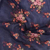 Blue Pink and Orange Embroidery Organza Silk Fabric-51631