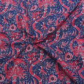 Blue-Pink and White Floral Design Block Print Cotton Fabric-14179