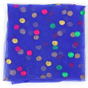 Blue Pink and Golden Polka Net Fabric-60971