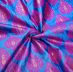 Blue Purple Floral Brocade Silk Fabric-12351