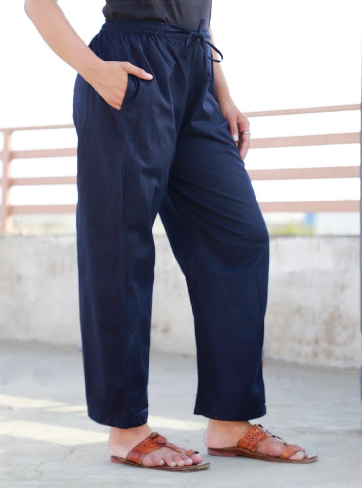 Blue Rayon Women Pant-33237