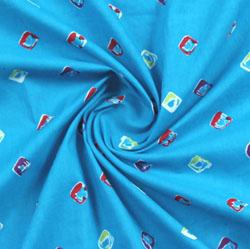 Blue Red Block Print Cotton Fabric-16010