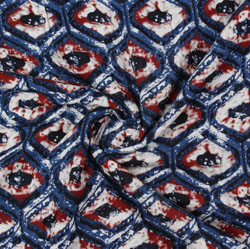 Blue Red Block Print Rayon Fabric-16120