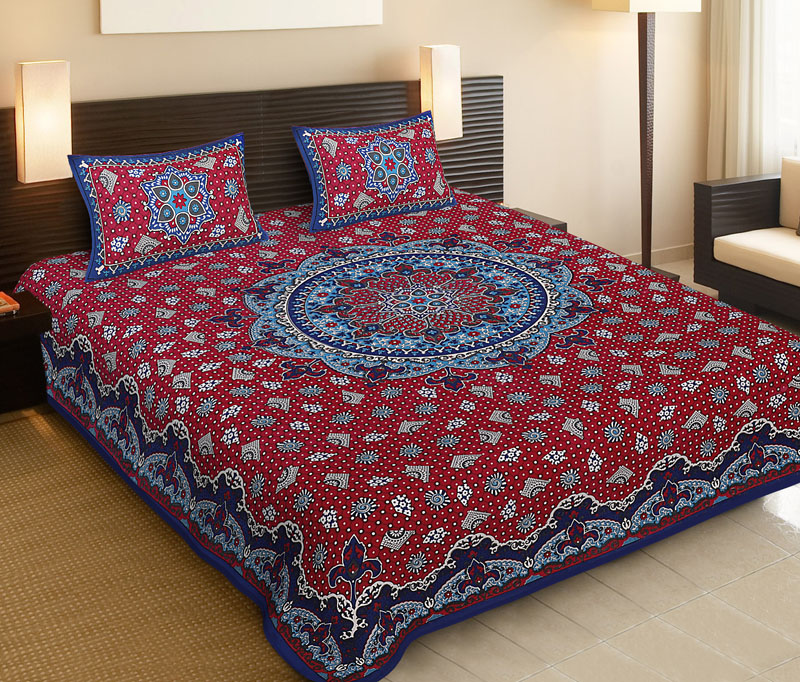 Blue Red Cotton Jaipuri Bedsheet-529