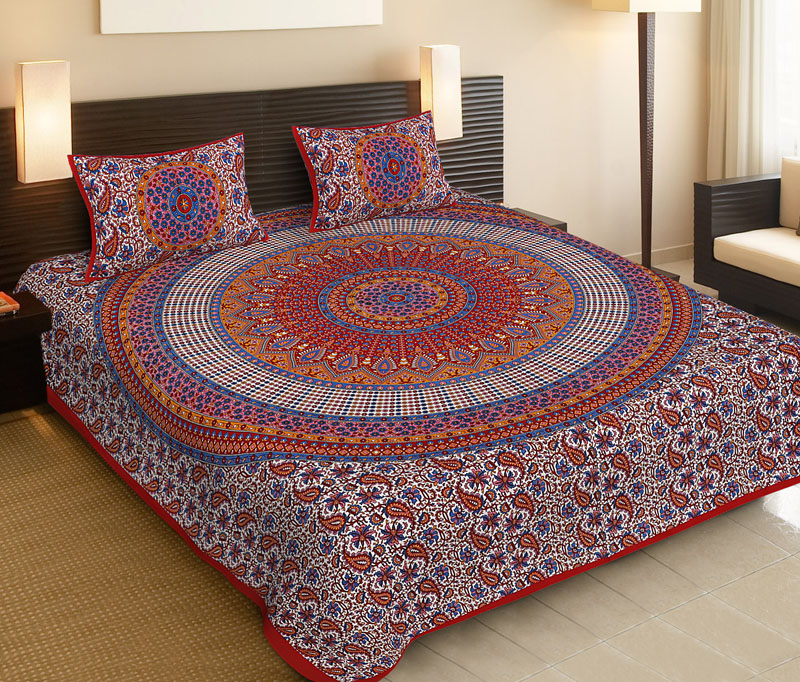 Blue Red Cotton Jaipuri Bedsheet-541