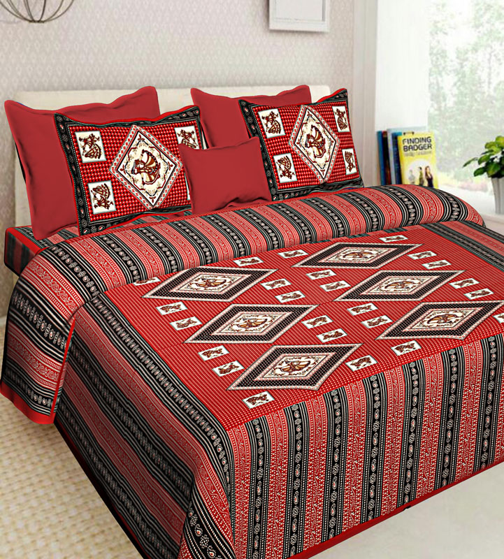 Blue Red Cotton Jaipuri Bedsheet-582