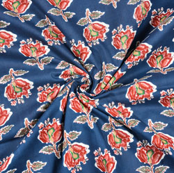 Blue Red Floral Block Print Cotton Fabric-28443