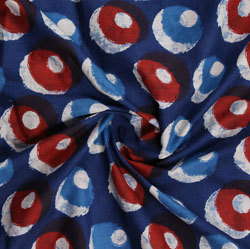 Blue Red Indigo Block Print Cotton Fabric-16020