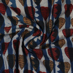 Blue Red Indigo Block Print Cotton Fabric-16190