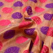 Blue-Red and Golden Flower Pattern Brocade Silk Fabric-5395