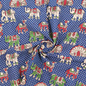 Blue-Red and Green Elephant Kalamkari Cotton Fabric-10188
