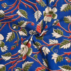 Blue Red and Green Floral Cotton Kalamkari Fabric-28043