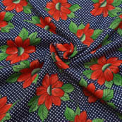 Blue-Red and Green Floral Design Crepe Fabric-18059