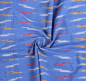 Blue-Red and White Cotton Ikat Fabric-12145