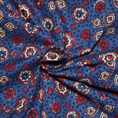 Blue-Red and White Floral Pattern Ajrakh Block Cotton Fabric-14025
