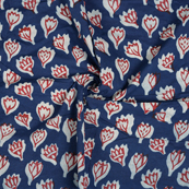 Blue-Red and White Leaf Pattern Cotton Block Print Fabric-14490