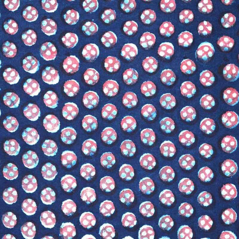 Blue, Red and White Modhal Block Printed Cotton Fabric