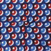 Blue-Red and White Polka Design Block Print Cotton Fabric-14321