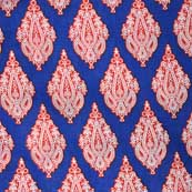 Blue Red and White Sanganeri Paisley Block Printed Cotton Fabric by the Yard