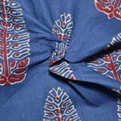 Blue-Red and White Tree Shape Ajrakh Block Cotton Fabric-14015