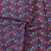 Blue-Red and Yellow Floral Design Block Print Cotton Fabric-14324