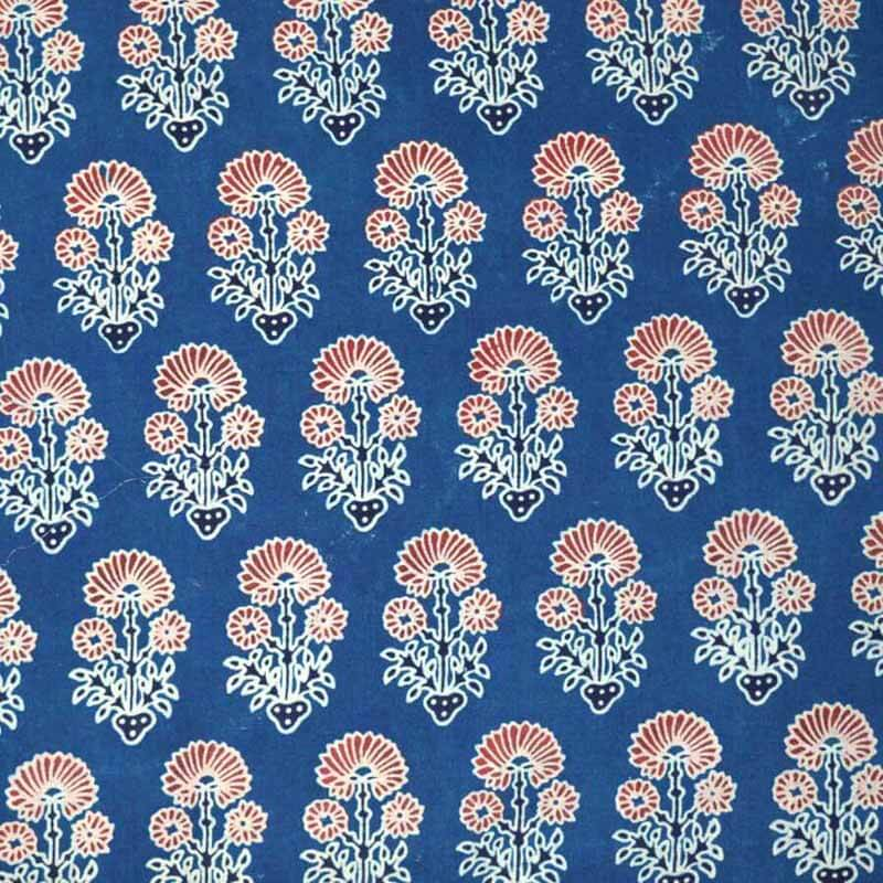 Blue Sanaganeri Hand Block Printed Cotton Fabric